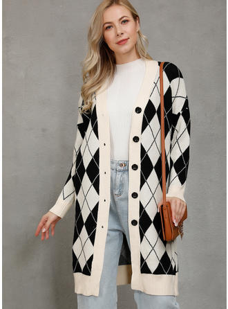 Polyester Long Sleeves Color Block Geometric Print Cardigans