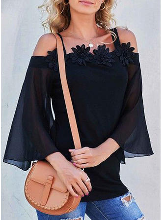 Solid Lace Off the Shoulder Lantern Sleeve 3/4 Sleeves Casual Blouses