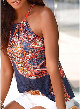 Print Cold Shoulder Sleeveless Casual Sexy Knit Tank Tops