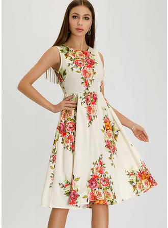 Floral Sleeveless A-line Knee Length Vintage/Party/Elegant Dresses