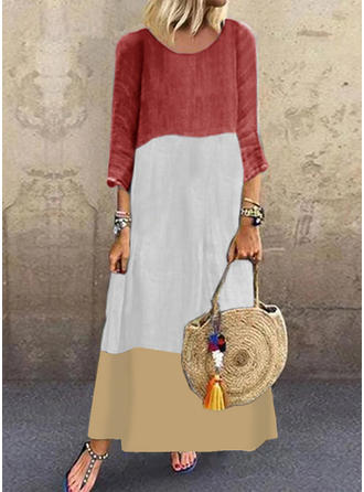 Color-block 3/4 Sleeves Shift Maxi Casual Dresses