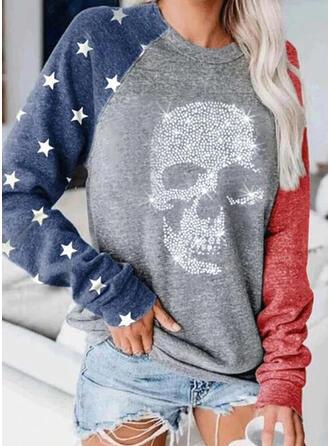 Print Color Block pailletter rund hals Lange ærmer Sweatshirts