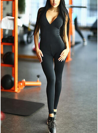 V-Neck Sleeveless Solid Color Sports Leggings Sports Tees