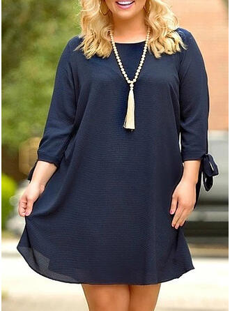 Solid 3/4 Sleeves Shift Knee Length Little Black/Casual/Elegant/Plus Size Dresses