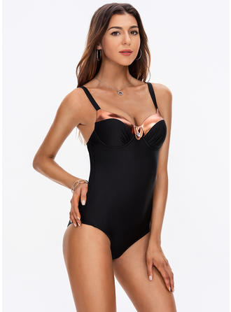 Solid Color Splice color Strap Sexy One-piece Swimsuits
