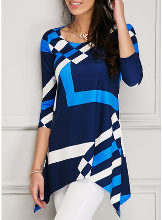 Polyester Spandex Round Neck Print 1/2 Sleeves Casual Blouses