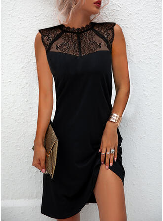 Solid Lace Sleeveless Shift Above Knee Little Black/Elegant Dresses