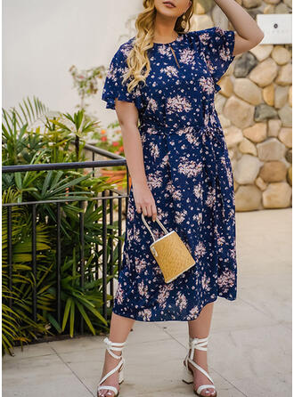 Print/Floral Short Sleeves A-line Vacation/Plus Size Midi Dresses