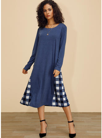 Plaid Long Sleeves Shift Midi Casual Dresses