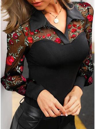 Ricamato Floreale Risvolto Manica a lanterna Maniche lunghe Elegante Shirt and Blouses