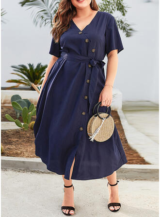 Solid Short Sleeves A-line Casual/Vacation/Plus Size Midi Dresses