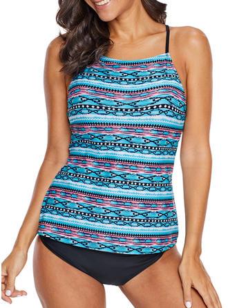 Stripe Strap High Neck Elegant Fresh Plus Size Tops Swimsuits