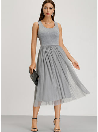 Solid Sleeveless A-line Midi Dresses