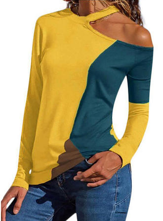 Color Block Cold Shoulder Long Sleeves Casual Sexy Blouses