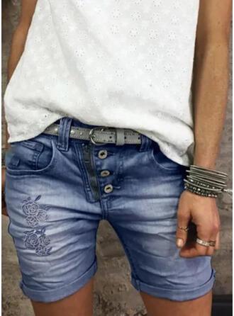 Shirred Magro Vintage Calção Jeans