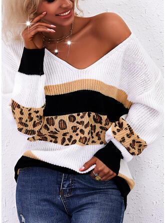 Minta Χρώμα μπλοκ λεοπάρδαλη V-nyak Ανέμελος πουλόβερ