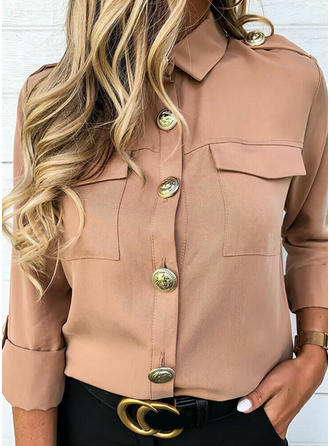 Solid Lapel Long Sleeves Casual Elegant Blouses