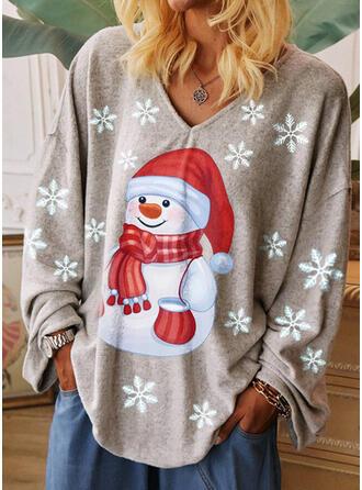 Drucken V-Ausschnitt Lange Ärmel Freizeit Weihnachten T-shirts
