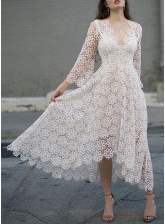 Lace/Solid 3/4 Sleeves A-line Midi Party/Elegant Dresses