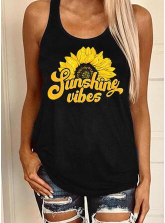 Print Sunflower Print Round Neck Sleeveless Casual Tank Tops