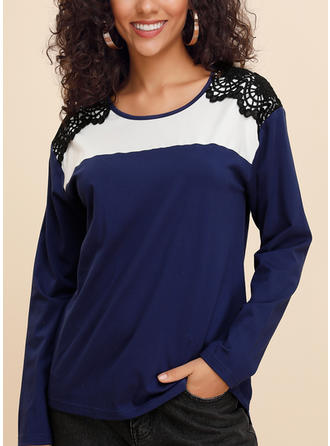 Color Block Lace Round Neck Long Sleeves Casual Knit Blouses