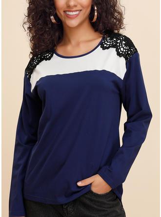 Цветной блок кружевной Шею Длинные рукова Повседневная Вязание Блузы