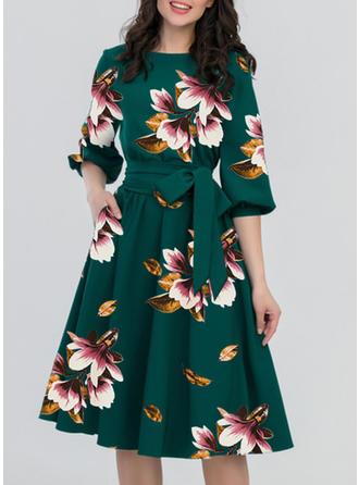 Print/Floral 3/4 Sleeves A-line Casual/Elegant Midi Dresses