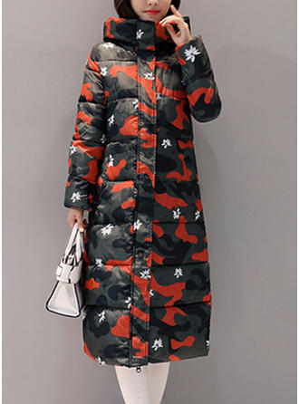 Polyester Long Sleeves Print Down Coats