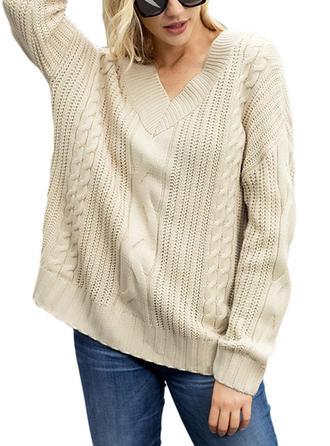 Wełna V-neck Jednolity kolor masywna dzianina Swetry