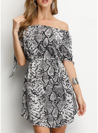 Animal Print 1/2 Sleeves A-line Above Knee Casual/Party Dresses