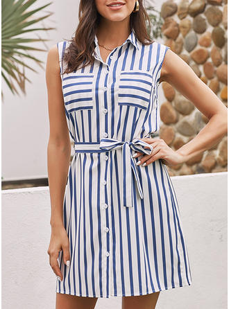 Striped Sleeveless A-line Above Knee Casual Dresses