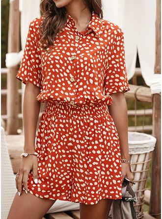 Print Shirt collar 1/2 Sleeves Casual Vacation Romper