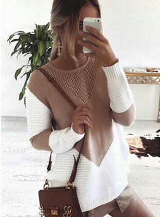 Knit Round Neck Color Block Sweater