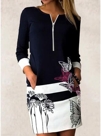 Floral/Color Block/Animal Print Long Sleeves Bodycon Above Knee Casual Dresses