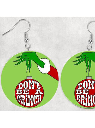 Caliente Navidad Grinch Madera De mujer Pendientes 2 piezas