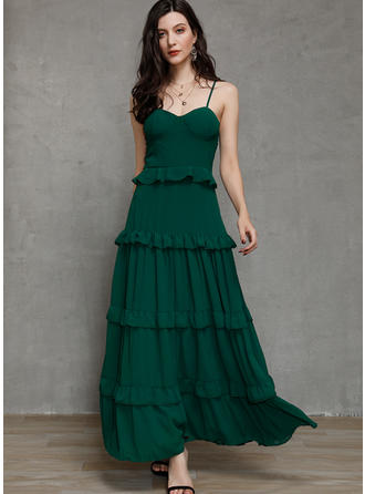 Solid Sleeveless A-line Maxi Party/Elegant Dresses