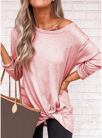 Solid One-Shoulder Long Sleeves Casual T-shirts
