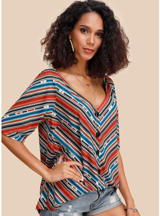 Striped V-Neck 1/2 Sleeves Button Up Casual Sexy Blouses