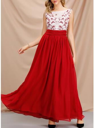Jednolita Bez rękawów W kształcie litery A Przyjęcie Maxi Sukienki
