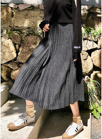 ylle- Solid färg Midi pläterade kjolar