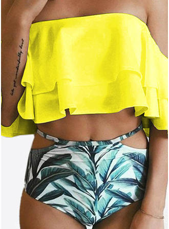 Floral High Waist Off The Shoulder Strapless Fashionable Plus Size Bikinis Swimsuits
