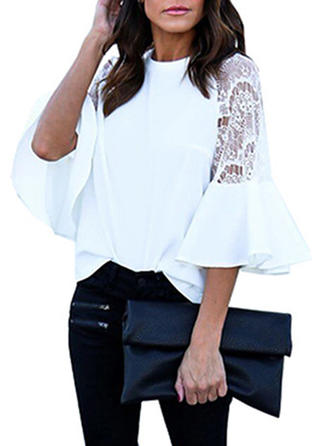 Lace Round Neck Flare Sleeve Casual Blouses