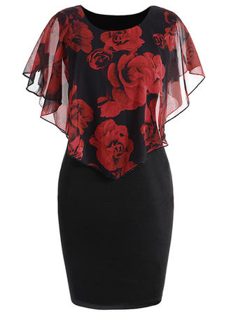 Floral Short Sleeves Bodycon Knee Length Casual/Elegant Dresses