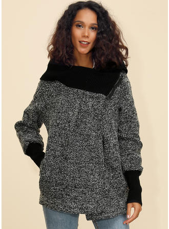 Polyester Uzun kollu baskı Geniş Waisted Coats