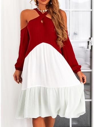 Χρώμα μπλοκ Hosszú ujjú Κρύο μανίκι ώμων Shift Térdig érő Ανέμελος Tunika φορέματα