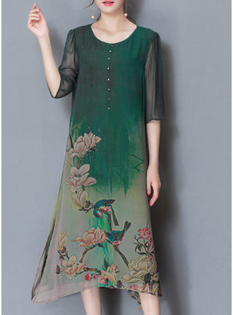 Print/Floral 1/2 Sleeves Shift Knee Length Casual/Elegant Dresses