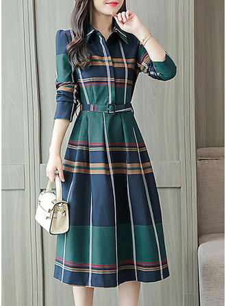 Plaid Shirt collar Knee Length A-line Dress