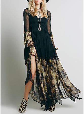 Print Bohemian V-neck Shift Dress