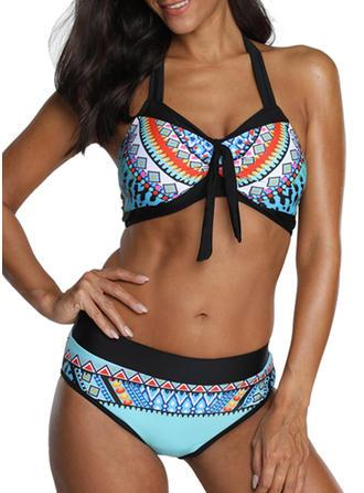 Kleurrijk Ronde Hals Mooi Bikini's Badpakken
