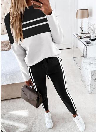Streep Color Block Casual sweatshirts & Tweedelige outfits Set